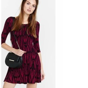 Feather Print Scoop Back Skater Dress Red